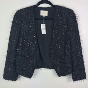 Ann Taylor LOFT black sequin quarter sleeve blazer